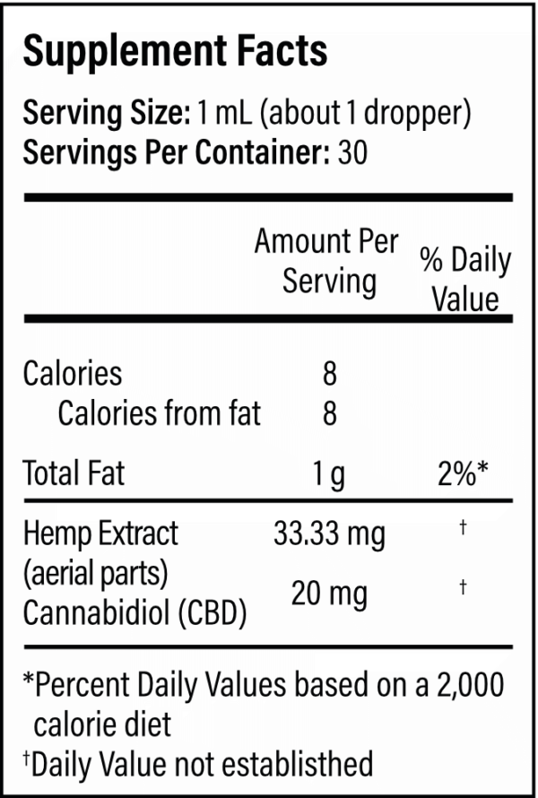 Supplemental facts for 1000mg hemp oil